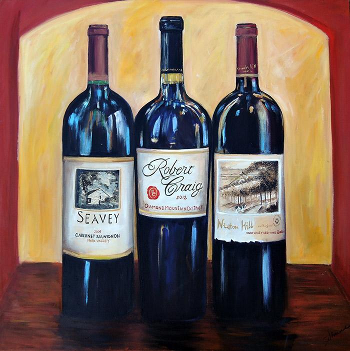 fine art painting of wine bottles